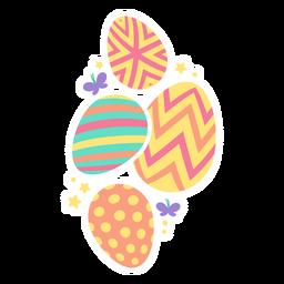 Ovo, páscoa, pintado, páscoa ovo ovo páscoa, ovo, padrão, quatro, borboleta, estrela, apartamento