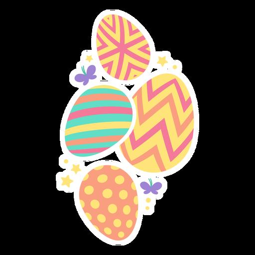 Egg easter painted easter egg easter egg pattern four butterfly star flat Transparent PNG