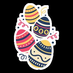 Huevo pascua pintado huevo de pascua huevo de pascua patrón cuatro plano