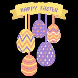 Ei Ostern gemaltes Osterei Osterei-Musterband fünf fröhliche Ostern flach