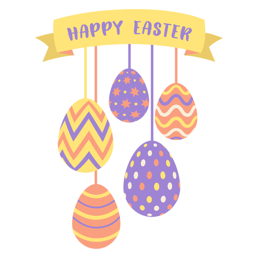 Egg easter painted easter egg easter egg pattern ribbon five happy easter flat Transparent PNG