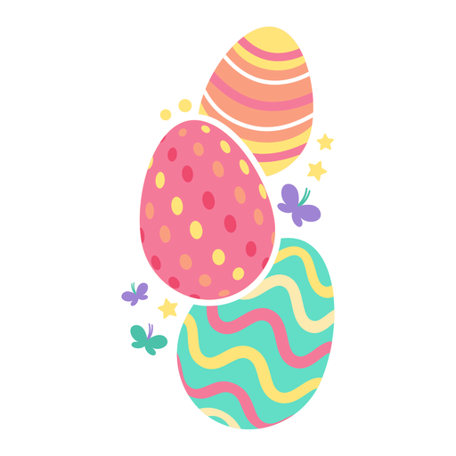 Egg easter painted easter egg easter egg pattern three butterfly star flat Transparent PNG