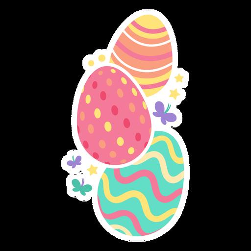 Ei Ostern gemalter Osterei Osterei Muster drei Schmetterlingsstern flach Transparent PNG