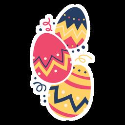 Ei Ostern gemaltes Osterei Osterei-Muster drei flach