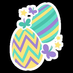 Ovo, páscoa, pintado, páscoa ovo ovo páscoa, ovo, padrão, dois, borboleta, estrela, apartamento
