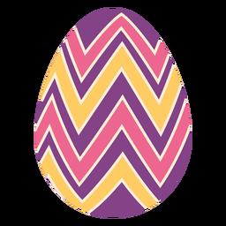 Ei Ostern gemaltes Osterei Osterei Muster Zickzackstreifen flach