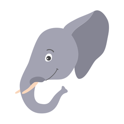 Etiqueta engomada plana del hocico de la cabeza del tronco de marfil del oído de elefante