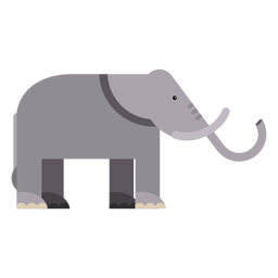 Oreja de elefante marfil tronco cola plana redondeada geométrica