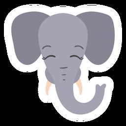 Pegatina plana hocico elefante tronco marfil cabeza bozal