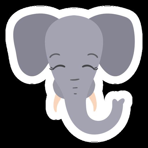 Elephant ear trunk ivory head muzzle flat sticker
