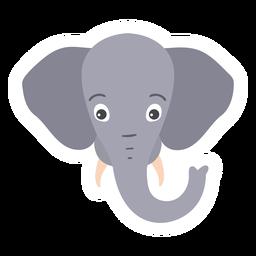 Pegatina plana hocico elefante oreja cabeza marfil boca