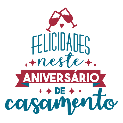 Felisidsdes neste aniversario de casamento portuguese text ribbon glass heart sticker Transparent PNG