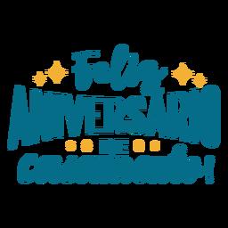 Etiqueta engomada del texto portugués del feliz aniversario de casamento