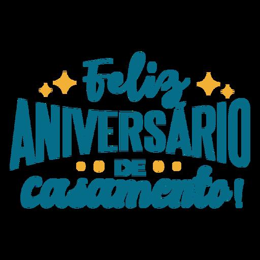 Etiqueta engomada del texto portugués del feliz aniversario de casamento Transparent PNG