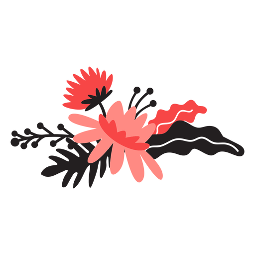 Flower bouqet bud petal stem leaf flat Transparent PNG