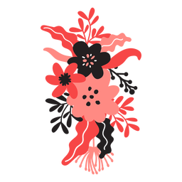 Flor bouqet brote tallo hoja pétalo plana