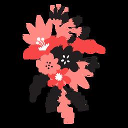 Flor bouqet brote tallo pétalo hoja plana