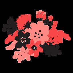 Flor bouqet tallo brote pétalo hoja plana