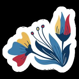 Haste de folha de pétala de flor em botão plana
