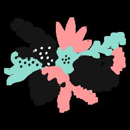 Flor brote polen hoja pétalo tallo plano