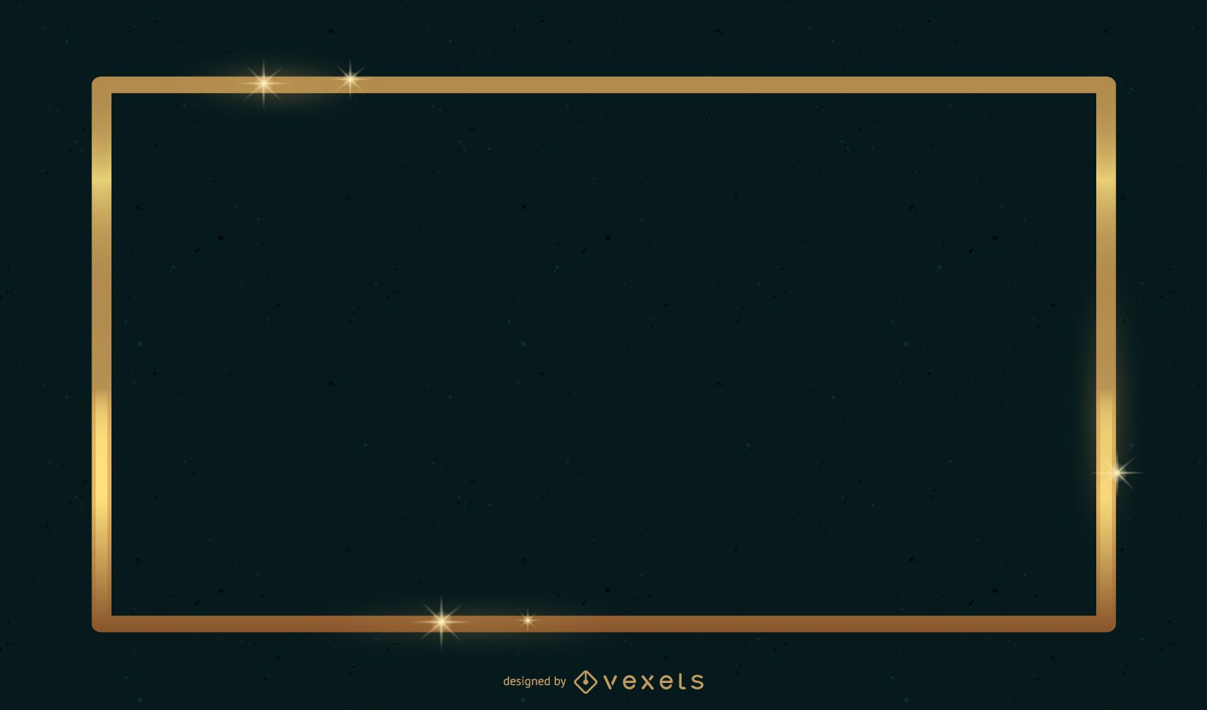 Golden frame for text over green background