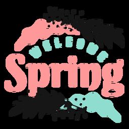 Capullo de flor bienvenida primavera pétalo tallo hoja plana