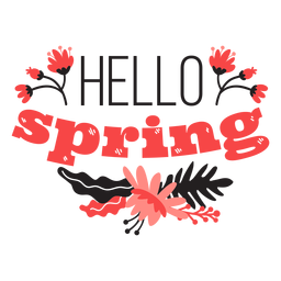 Flower hello spring bud petal stem leaf flat