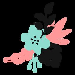 Flor hoja pétalo brote tallo plano