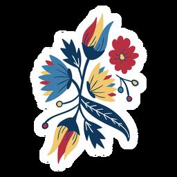 Flor hoja tallo brote pétalo plano