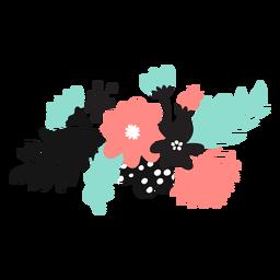 Flor pétalo brote polen hoja tallo plano