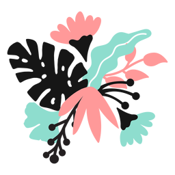 Flor pétalo brote tallo hoja plana