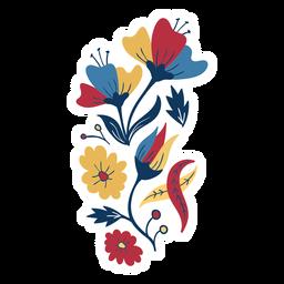 Flor pétalo hoja brote tallo plano