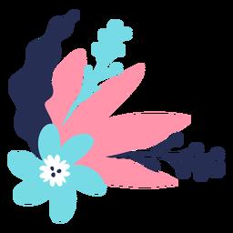 Flor tallo brote pétalo hoja plana