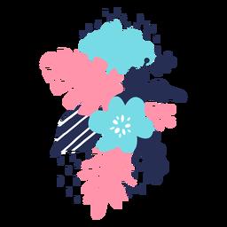 Flor tallo brote pétalo hoja polen plana