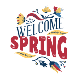 Flor bienvenida primavera brote pétalo tallo hoja plana