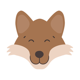 Fox happy head muzzle flat sticker