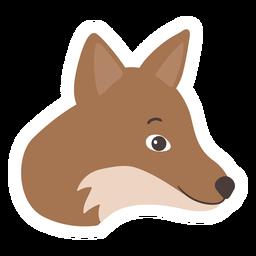 Pegatina plana hocico cabeza de zorro