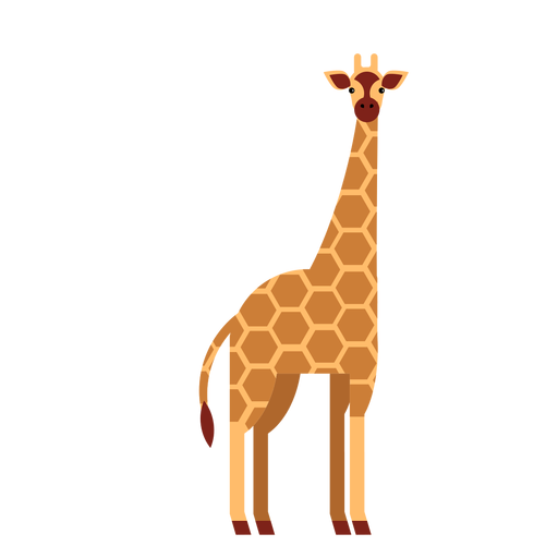 Giraffe long spot neck tall ossicones flat rounded geometric Transparent PNG