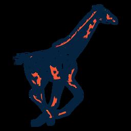 Jirafa ejecutar punto alto cuello cola larga ossicones trazo duotono