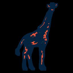Jirafa punto alto cuello cola larga ossicones trazo duotono