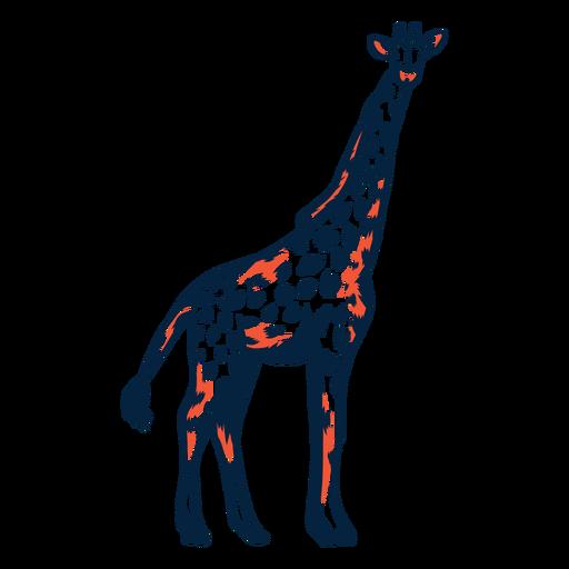Giraffe tall spot neck long tail ossicones stroke duotone