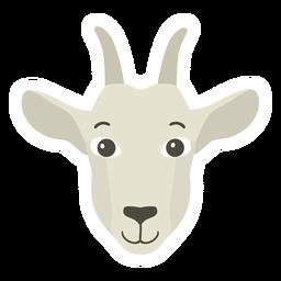 Pegatina plana cuerno de cabeza de cabra