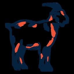 Cabra con pezuña cuerno de carrera duotono