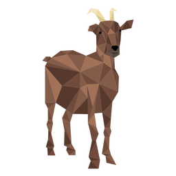 Goat hoof tail horn low poly