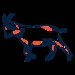 Cuerno de cabra cola pezuña movimiento duotono