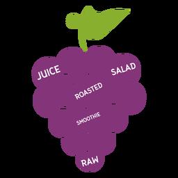 Jugo de uvas ensalada asada batido crudo plano