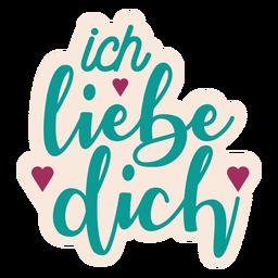 Etiqueta engomada alemana del corazón del texto