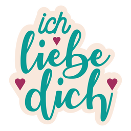 Ich liebe dich german text heart sticker