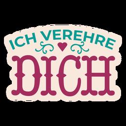 Etiqueta engomada alemana del corazón del texto del dich derehre dich