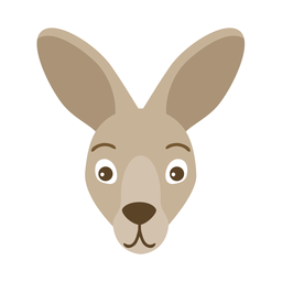 Kangaroo head ear muzzle flat sticker